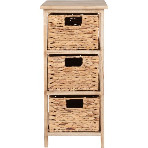 Small Storage Unit With 3 Straw Drawers