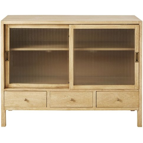 Solid Mango Wood And Ridged Tempered Glass 2-Door 3-...