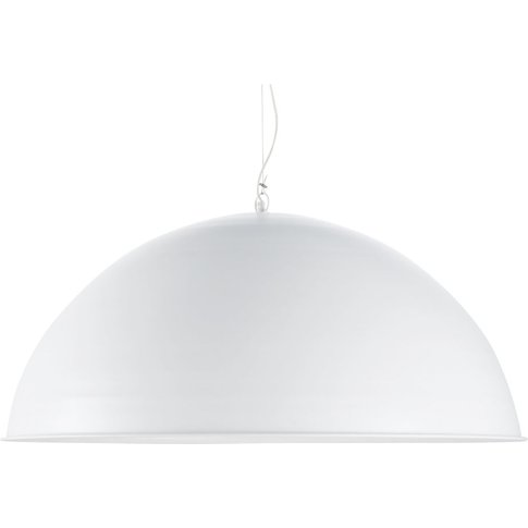 Xxl Shade Pendant Light In White Metal