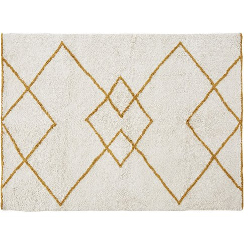 Yellow And Ecru Recycled Cotton Rug With Fringe 160x230cm