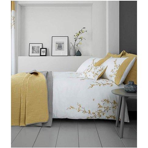 Embroidered Blossom White Duvet Set