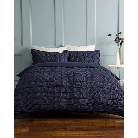 Ruched Pleated Navy Duvet Cover Set