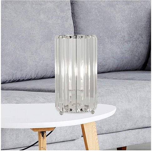Tia Glass Column Table Lamp