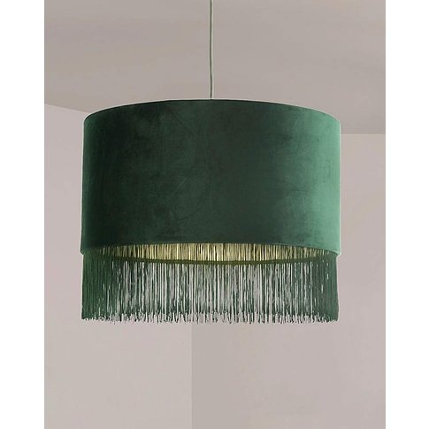 Dark Green Velvet Fringed Shade
