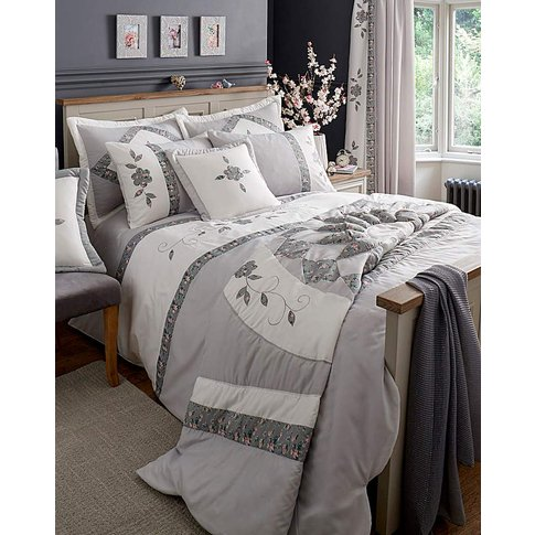 Faye Embellished Grey Duvet Cover Set