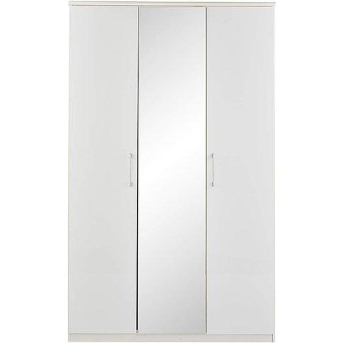 Riga Gloss 3 Door Wardrobe With Mirror