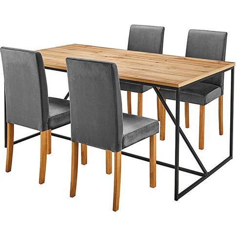Soho Dining Table & 4 Mia Velvet Chairs