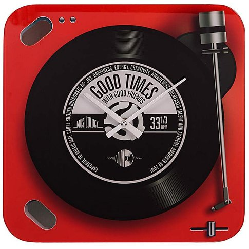 Red Record Player Glass Wall Clock