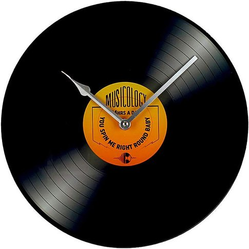 Musicology Record Glass Wall Clock