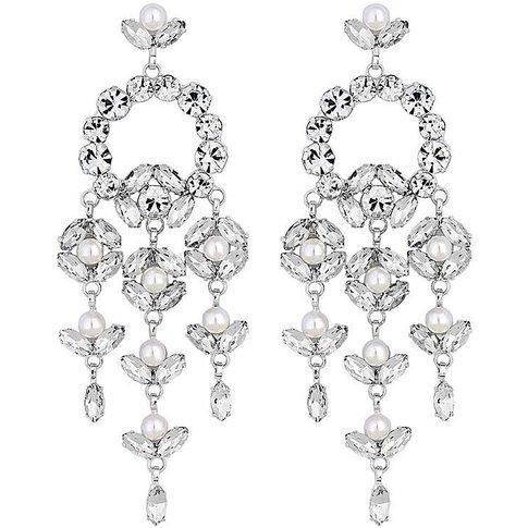 Mood Silver Floral Chandelier Earring