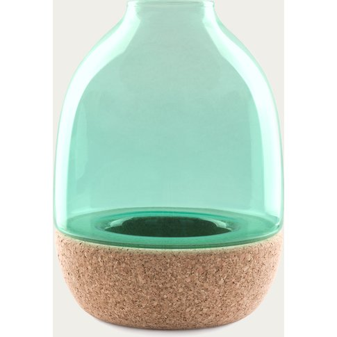Turquoise Glass Pitaro Vase