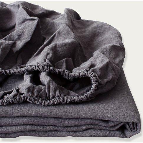 Dark Grey Linen Fitted Sheet