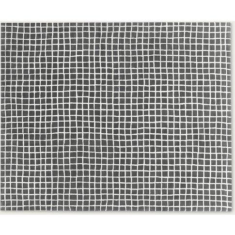 Grey-Natural Wool Grid Rug Large By Hem Design Studio