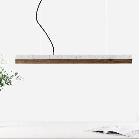 Carrara Marble & Nut Wood Pendant Light