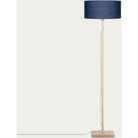 Natural/Blue Denim Fuji Bamboo Floor Lamp