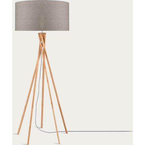 Natural/Linen Dark Kilimanjaro Bamboo Floor Lamp