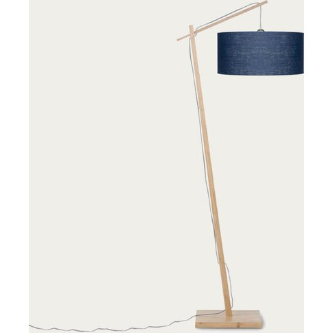 Natural/Blue Denim Andes Bamboo Floor Lamp
