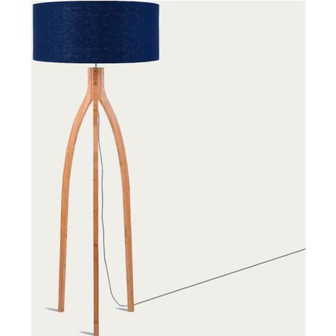 Natural/Blue Denim Annapurna Bamboo Floor Lamp
