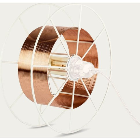 White Floor Lamp Spool Deluxe Copper