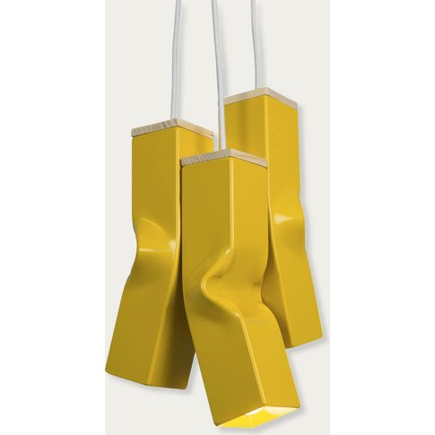 Yellow Bendy Triple Pendant Lamp