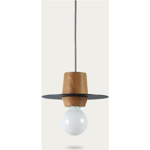 Slate-Grey Matt Disco Pendant Lamp With Metal Disc 2...