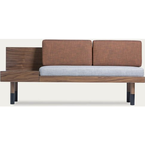 Gray/Walnut Loveseat Mid Sofa