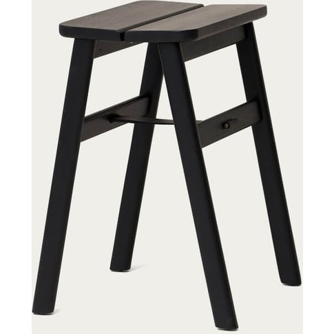 Black-Stained Oak Angle Stool