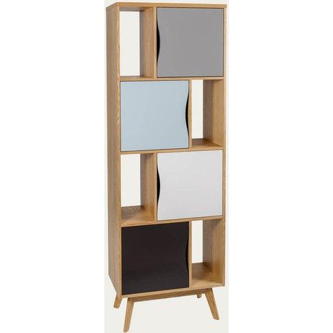 Oak/Blue/Grey Avon Bookcase Narrow Strata