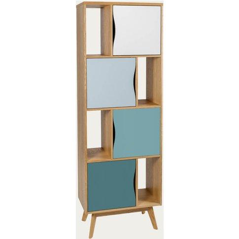 Oak/Blue Avon Bookcase Narrow Spruce