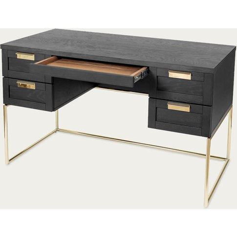 Dark Wood/Brass Pimlico Desk