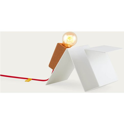 White Base And Red Cable Glint #3 Desk Lamp