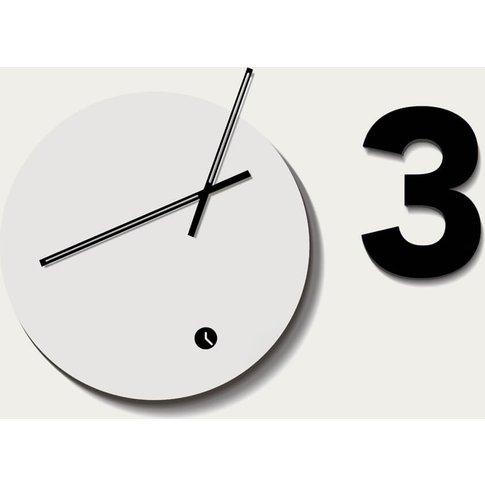 White Lacquered Finished Globus Three Wall Clock
