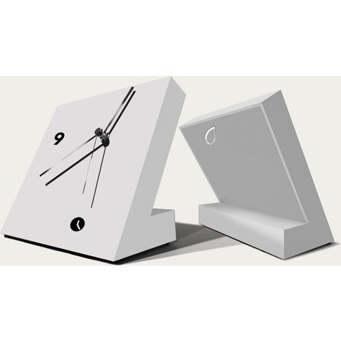 White Lacquered Finished Tact Table Clock