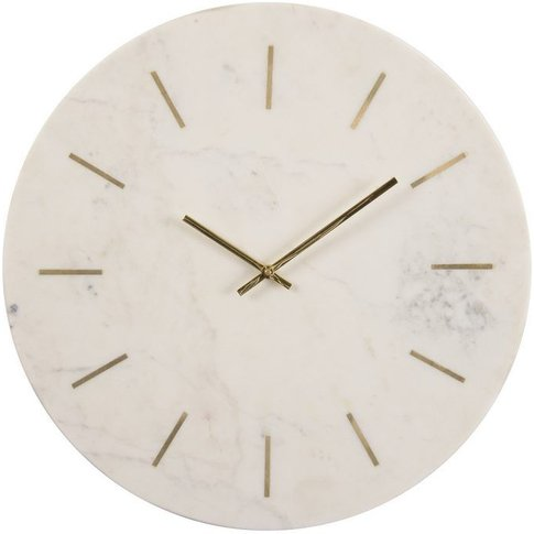 Stratos Brass and White Marble Wall Clock