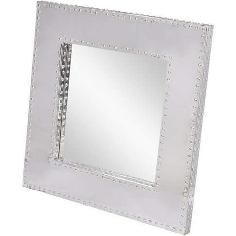 Viscount Polished Steel Mirror With Stud Detailing