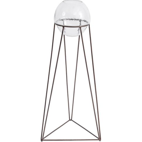Vitrus Glass Fishbowl Planter On Copper Stand - Floo...