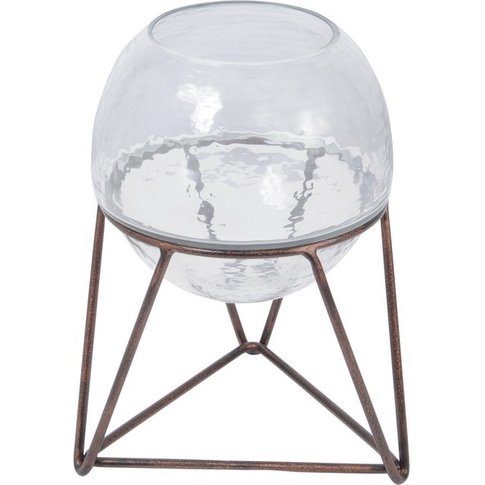 Vitrus Glass Fishbowl Planter On Copper Stand - Small