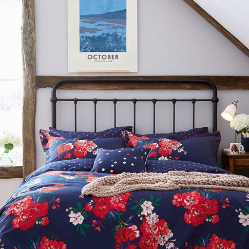 Joules Beau Floral Single Duvet Cover, French Navy
