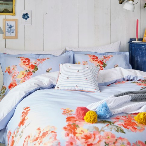 Joules Hollyhock Floral Double Duvet Cover, Hydra Blue