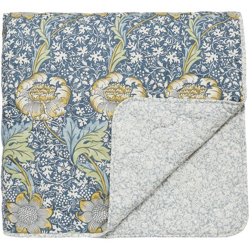 William Morris Kennet Quilted Throw, Indigo/Gold