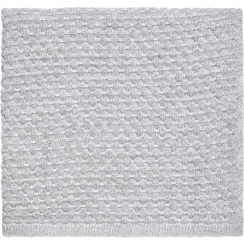 Peacock Blue Hotel Real Knitted Throw, White