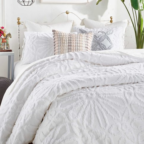 Peri Home Chenille Medallion Double Duvet Cover, White
