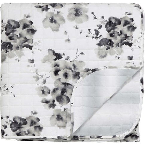 Sanderson Mandarin Flowers Quilted Throw, Grey