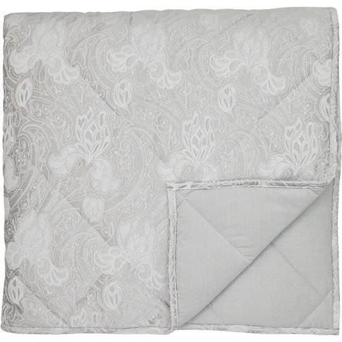 Sanderson Ashbee Double Quilted Throw, Platinum