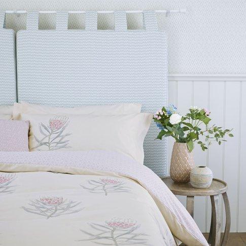 Sanderson Protea Flower Double Duvet Cover, Sea Pink