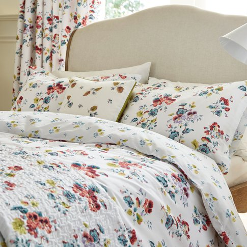 V & A Sweet Geranium Single Duvet Cover Set, Multi
