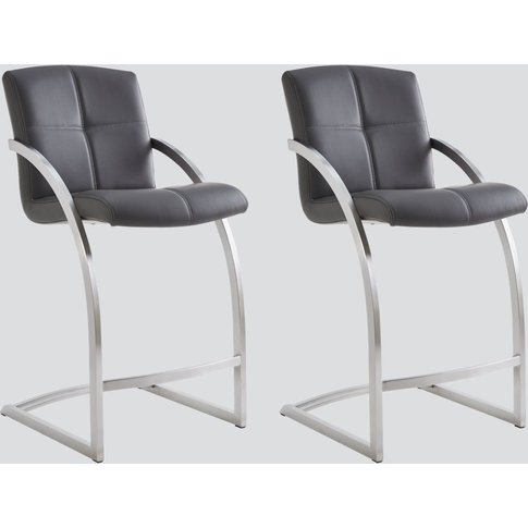 Aspen Grey Leather And Chrome Barstool (Pair)