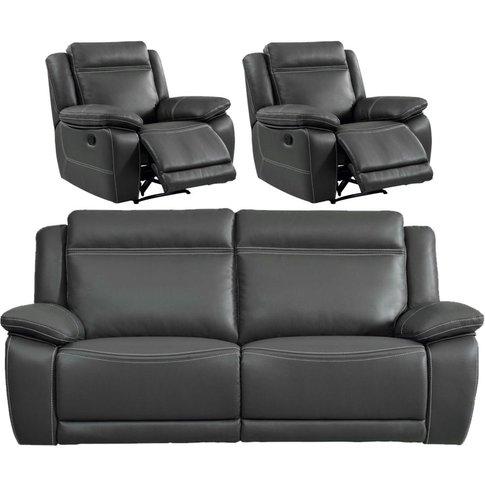 Cheshire Dark Grey Leather 3+1+1 Recliner Sofa Suite