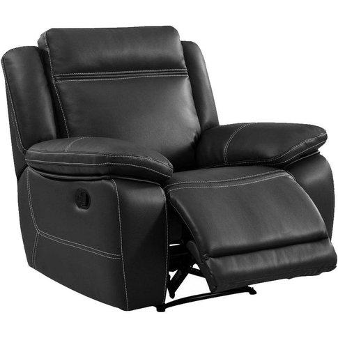 Cheshire Dark Grey Leather Recliner Armchair