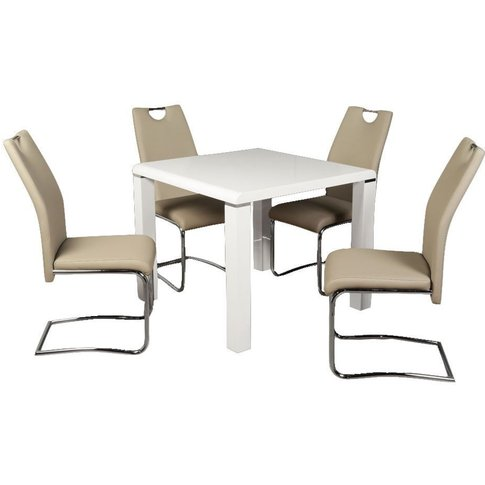 Clarus White Square Dining Table And 4 Claren Khaki ...